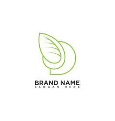 Letter d leaf logo design template vector