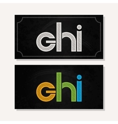 Letter G H I logo alphabet chalk icon set vector