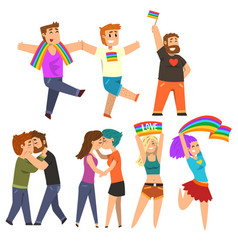 Lgbt community celebrating gay pride love parade vector