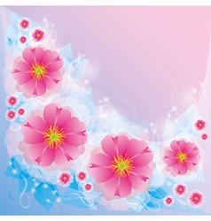 Light background with flowers and decorative curls vector image