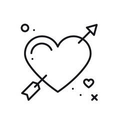 love line arrow heart icon happy valentine day vector image