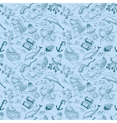 marine seamless pattern with doodle mermaid vector image