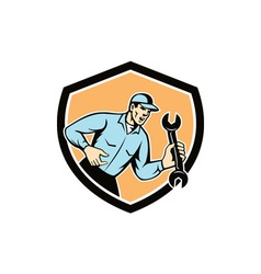 Mechanic Shouting Holding Spanner Wrench Shield vector