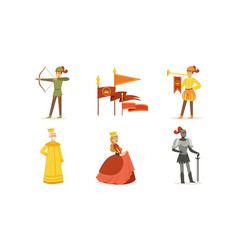 medieval kingdom set european middle ages vector image