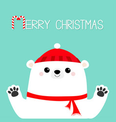 Merry christmas white polar bear holding hands vector