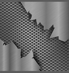 Metal perforated background with torn metal edges vector