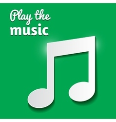 Music note isolated on green background vector