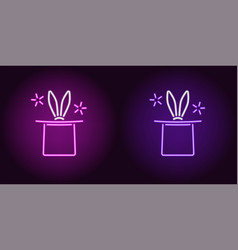 neon icon of purple and violet magic hat vector image