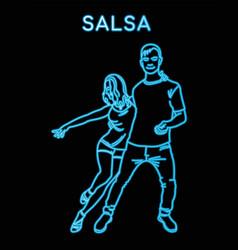 Neon outline guy and girl dancing salsa vector