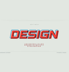offset alphabet design stunning font with contour vector image