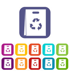 Package recycling icons set vector