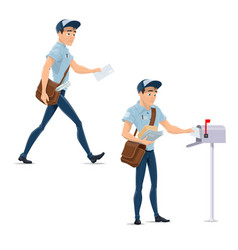 Post mail postman at delivery work icons vector