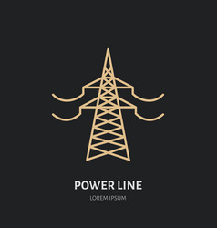 power line flat linear icon commercial vector image