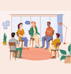 psychotherapy people group therapy with counselor vector image