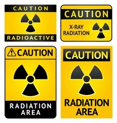 Radiation hazard stickers four labels vector image