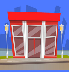 Restaurant with lamps cafe building city vector
