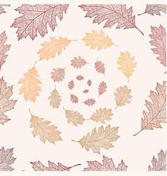 seamless pattern from the leaves of red oak vector image