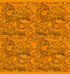 seamless pattern with images for halloween vector image