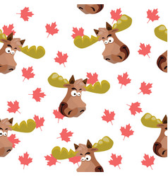 seamless pattern with the image of a moose head on vector image