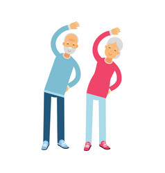 Senior couple characters doing exercises physical vector