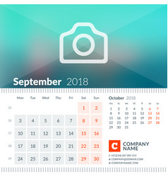 september 2018 calendar for 2018 year week vector image