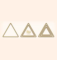 set abstract golden triangular frames vector image