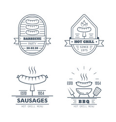 set barbecue badge designs line art vector image