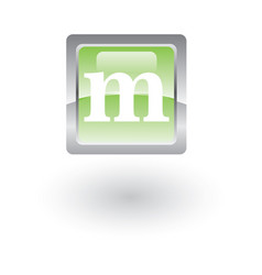 square glossy icon letter m vector image