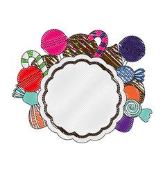 sweet candies round label confetionery dessert vector image