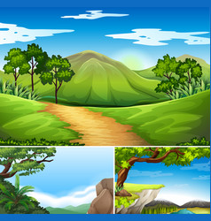 Three scenes with mountains at daytime vector