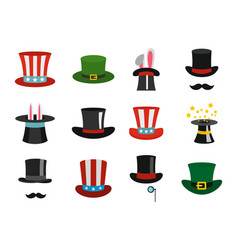 Top hat icon set flat style vector