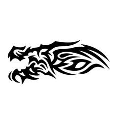 tribal tattoo art with black dragon head vector image