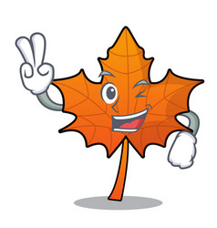 two finger red maple leaf character cartoon vector image