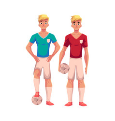 two handsome blond soccer players teammates vector image