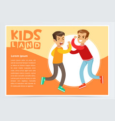 Two teen boys fighting each other teenager kids vector