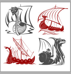 Vikings ships - set on white background vector