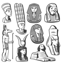 vintage monochrome ancient egypt people set vector image