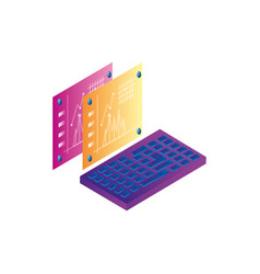 Webpages templates with statistics and keyboard vector