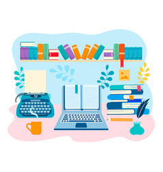 Working space of the writer literary creative vector