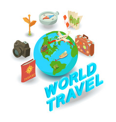 World travel concept banner isometric style vector