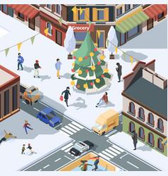 xmas tree in city winter urban landscape with vector image