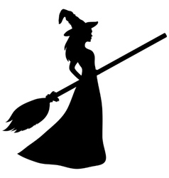 Young witch with a broom silhouette vector