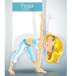 Blond girl in yoga pose Trikonasana Utthita Bonus vector image vector image