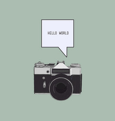 camera with bubble text sketch vector image