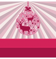 Christmas bauble over pink vintage EPS 8 vector image vector image