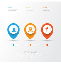 Journey icons set collection of location boat vector