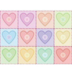 Pattern with sewed felt hearts vector
