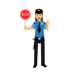 policewoman character in a blue uniform showing vector image