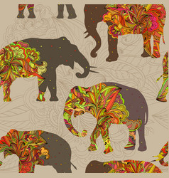 seamless ornamental pattern with elephants vector image