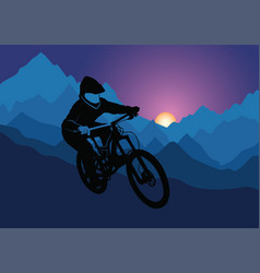 Silhouette of a racer descending on a bicycle on a vector